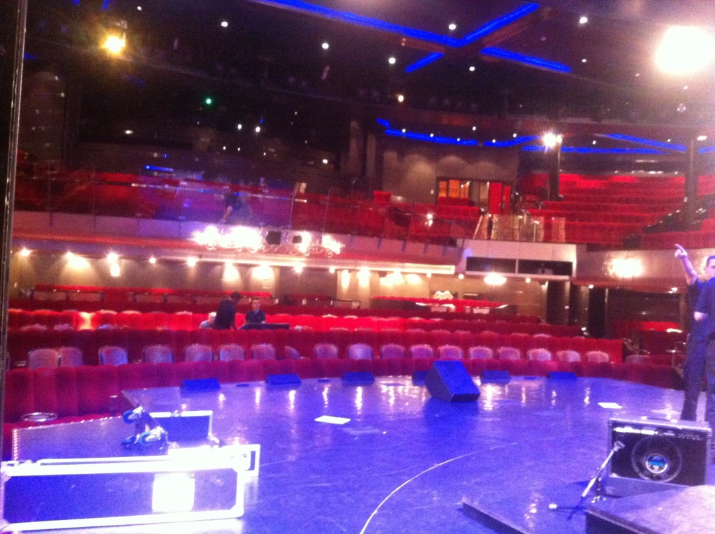 The Cheatles sound checking in the Royal Court Theatre aboard the Queen Mary 2